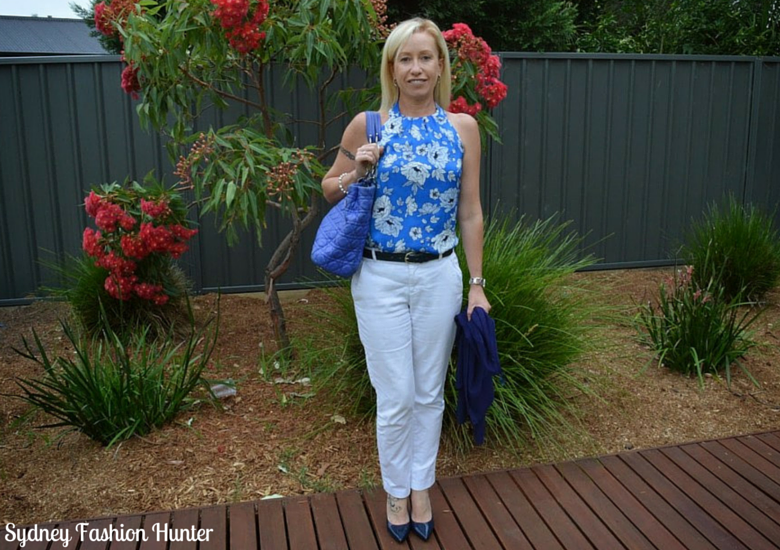 Sydney Fashion Hunter: The Wednesday Pants #20 - Blue Floral Halter