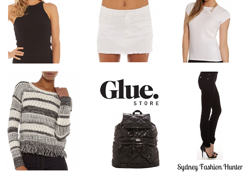 Black Skinny Jeans, Black & White Sweater, Black Backpack, White Denim Skirt, Black Halter Top