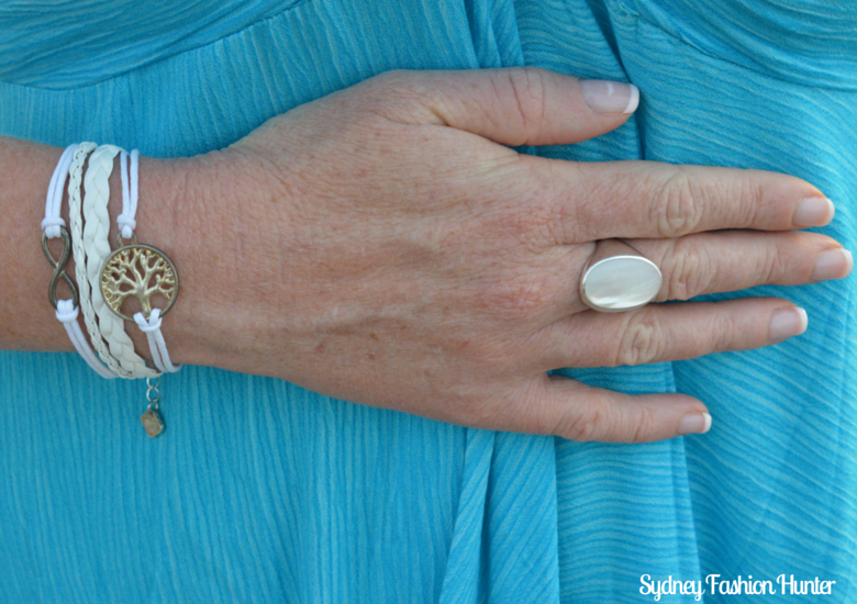 Mother Of Peral Ring, Ashley Bridget Bracelet