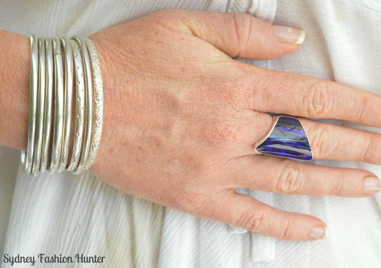 Silver & Purple shell ring with silver bangle stack