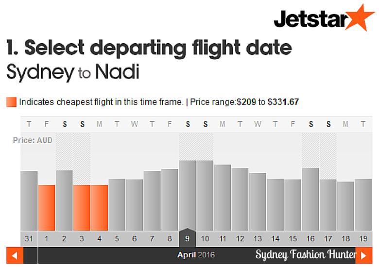 Jetstar Flights Monthly View