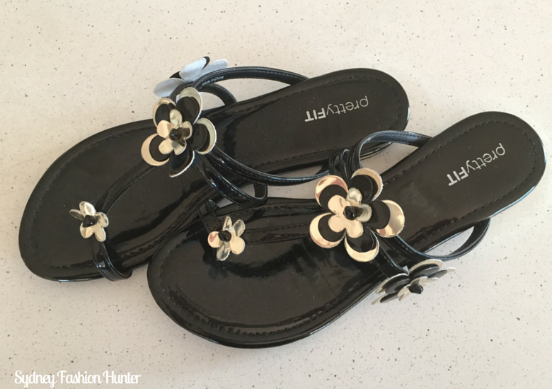 Bali Bargains: Pretty Fit Black & Silver Flower Sandals