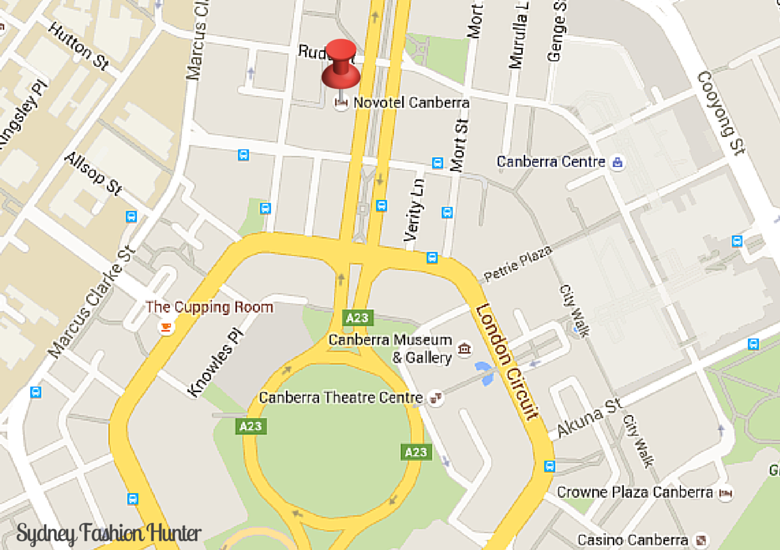 Sydney Fashion Hunter: Novotel Canberra - Map