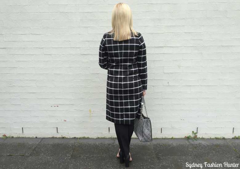 Sydney Fashion Hunter: Fresh Fashion Forum 32 Black & White Check Coat Outfit - Back