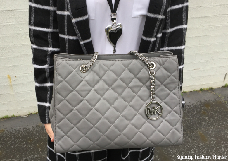 Sydney Fashion Hunter: Fresh Fashion Forum 32 Black & White Check Coat Outfit - Black & Silver Heart Pendant & Michael Kors Grey Quilted Bag