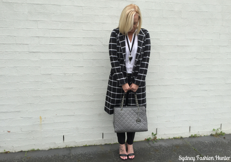 Sydney Fashion Hunter: Fresh Fashion Forum 32 Black & White Check Coat Outfit - Front