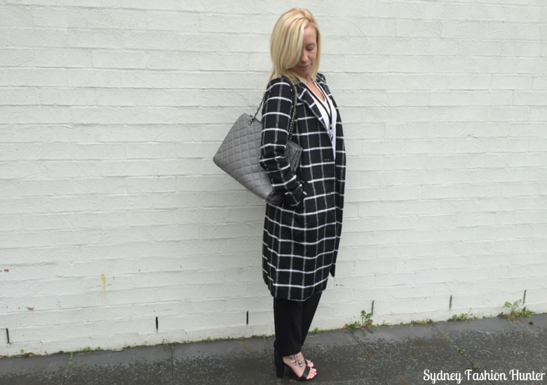 Sydney Fashion Hunter: Fresh Fashion Forum 32 Monochrome Check Coat Outfit - Side