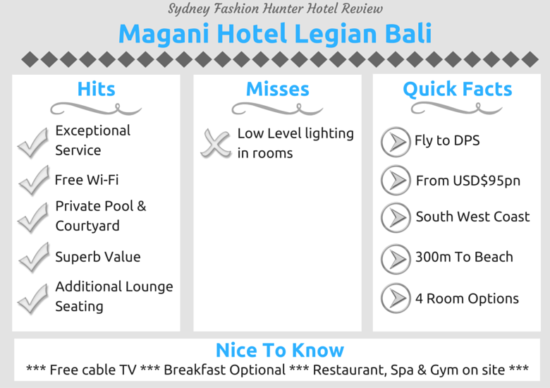 Sydney Fashion Hunter Hotel Review At A Glance - Magani Hotel Bali At A Glance