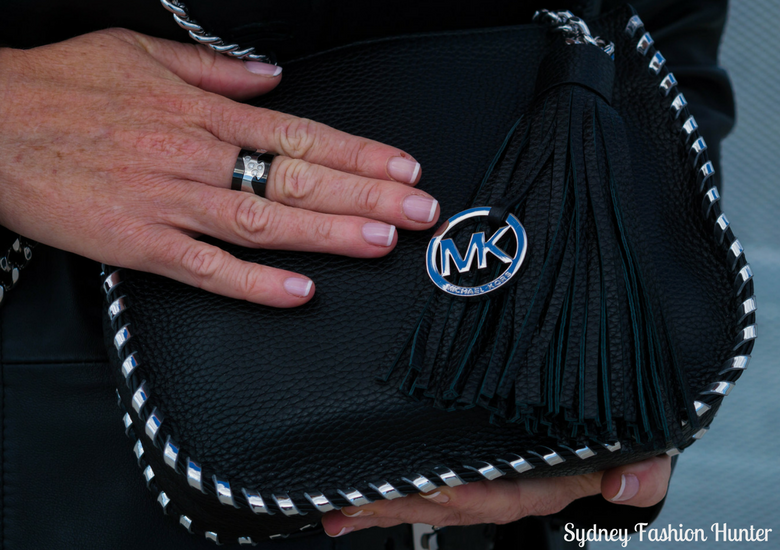 Sydney Fashion Hunter: Fresh Fashion Forum 46 - Black Leather Coat - Envy Black Love Ring & Michael Kors Black Tassel Bag