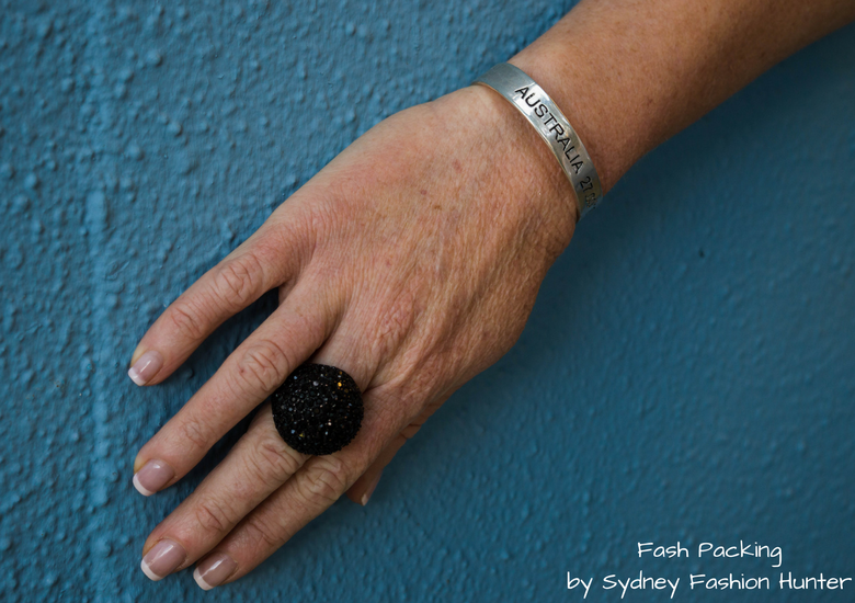 Fash Packing by Sydney Fashion Hunter: Grey Mesh Crop Top - Black Lovissa Ring & Silver Australia Bangle