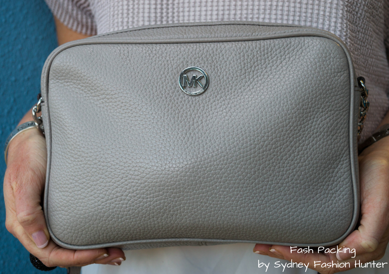 Fash Packing by Sydney Fashion Hunter: Grey Mesh Crop Top - Michael Kors Grey Crossbody Bag