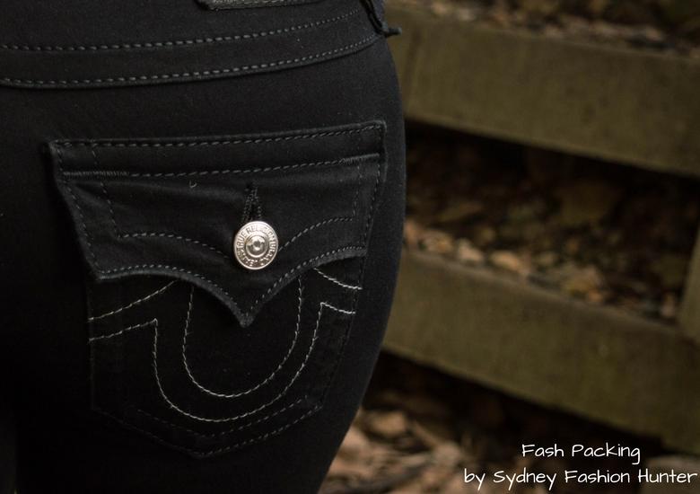 Fash Packing by Sydney Fashion Hunter: Grey Mesh Crop Top - True Religion Black Skinny Jeans Pocket Detail