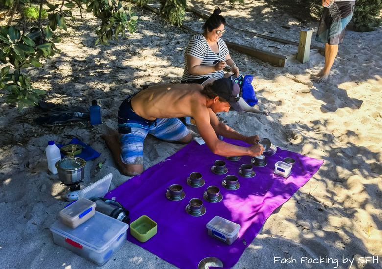 Fash Packing by SFH: Cathedral Cove Kayak Tours - making Coffee on Cathedral Cove Beach