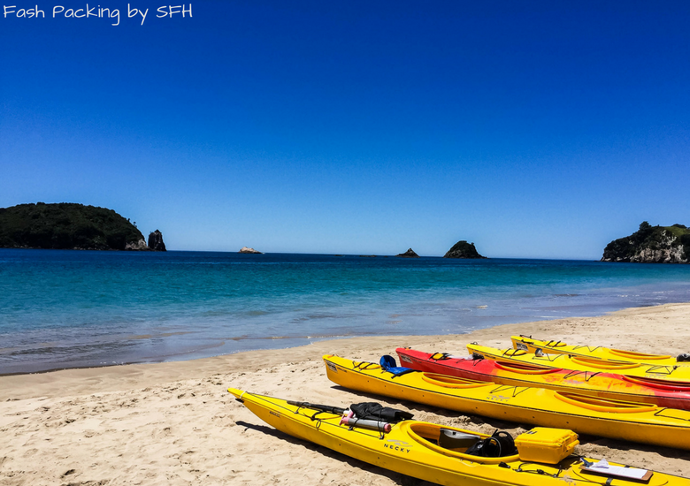 Fash Packing by SFH: Cathedral Cove Kayak Tours - Kayaks on Hahei Beach