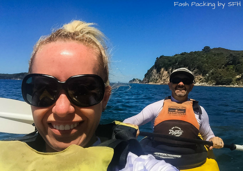 Fash Packing by SFH: Cathedral Cove Kayak Tours - Us kayaking