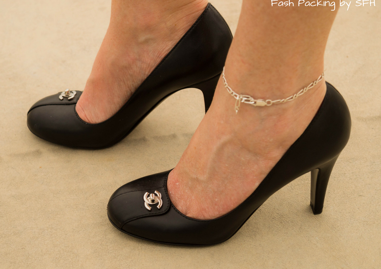 Fash Packing by SFH: Fresh Fashion Forum Linkup 57 - Designer Accessories on Cue - Chanel round toe black pumps with silver logo