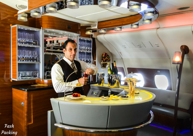 Fash Packing: Emirates A380 Business Class Review - Bar