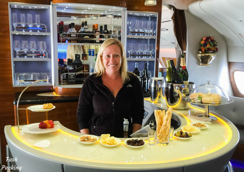 Fash Packing: Emirates A380 Business Class Review - Me in the Bar