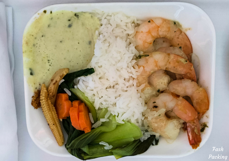Fash Packing: Emirates A380 Business Class Review - Thai Green Prawn Curry Lunch