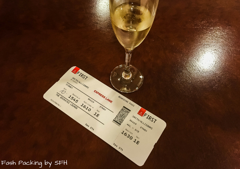 Fash Packing by SFH: Emirates A380 First Class Review - Auckland International Airport Emirates Lounge - Boarding Pass