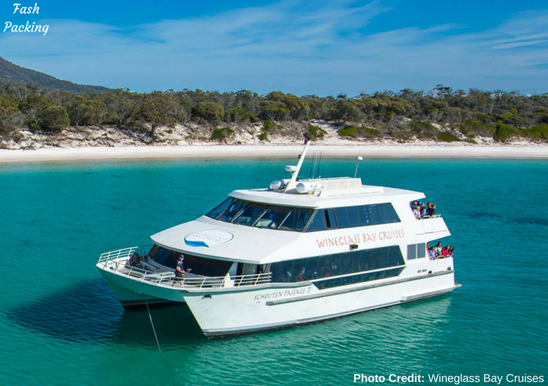 Fash Packing: Wineglass Bay Cruises Tasmania - Vessel In Wineglass Bay
