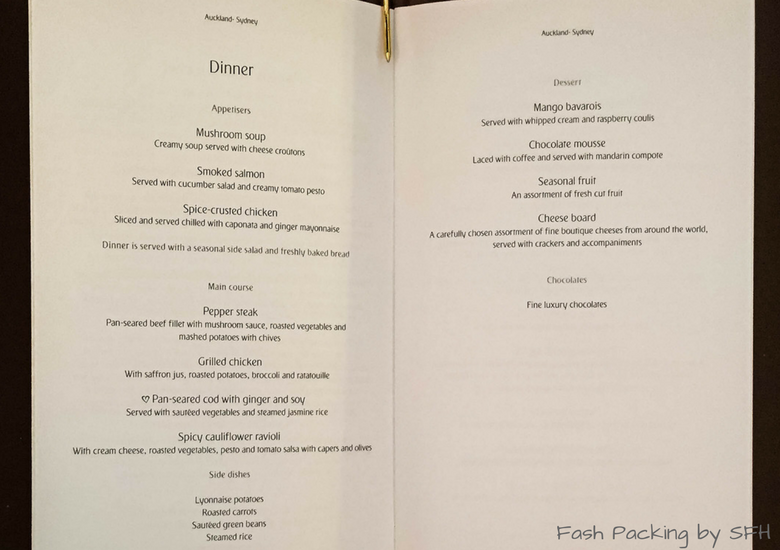 Fash Packing by SFH: Emirates A380 First Class Review EK419 Auckland to Sydney - Dinner Menu