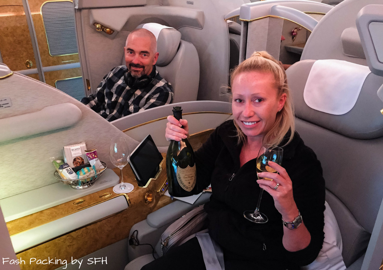 Fash Packing by SFH: Emirates A380 First Class Review EK419 Auckland to Sydney - Bottle Of Dom Perignon