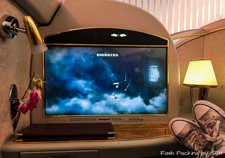 Fash Packing by SFH: Emirates A380 First Class Review EK419 Auckland to Sydney - Emirates First Class Suite Screen