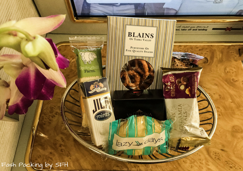 Fash Packing by SFH: Emirates A380 First Class Review EK419 Auckland to Sydney - Emirates First Class Suite Snacks