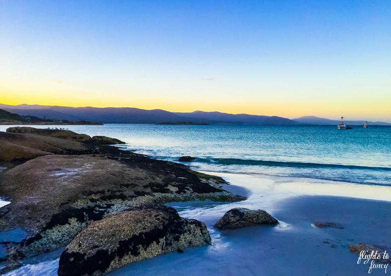Flights To Fancy: Bicheno Tasmania Freycinet's Most Affordable Town - Bicheno Beach at Sunset