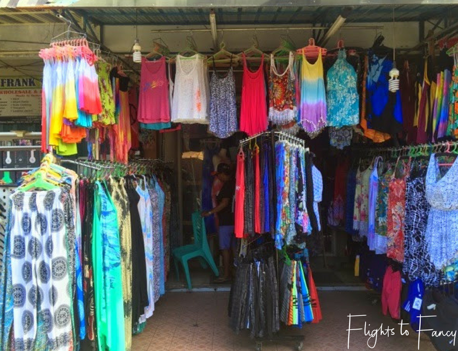 Flights To Fancy Ladies clothes at one of the many markets in Bali