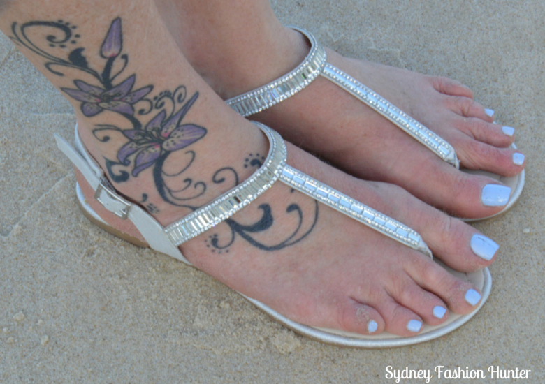 London Rebel Muso Soft Gold Sandals, Surfers Paradise Beach