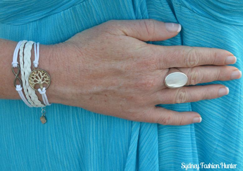 Mother Of Peral Ring, Ashley Bridget Bracelet
