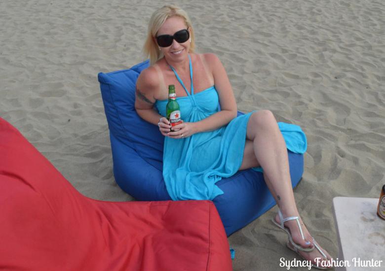 Bintang on a beanbag at teh beach: Sydney Fashion Hunter Fresh Fashion Forum 20 - Bali Sundress