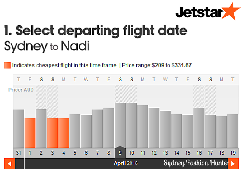 Jetstar Flights Monthly View