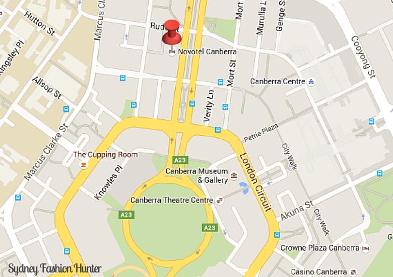 Sydney Fashion Hunter: Novotel Canberra - Map