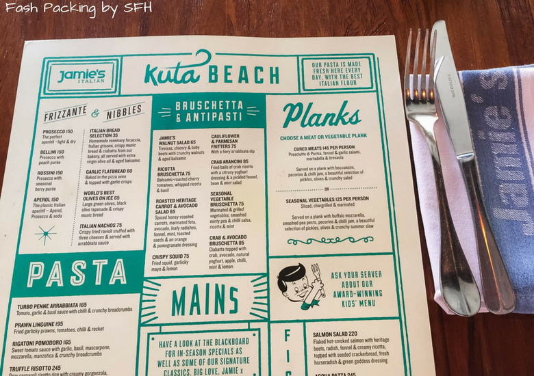 Fash Packing by Sydney Fashion Hunter: Restaurant Review - Jamie's Italian Kuta Bali - Menu