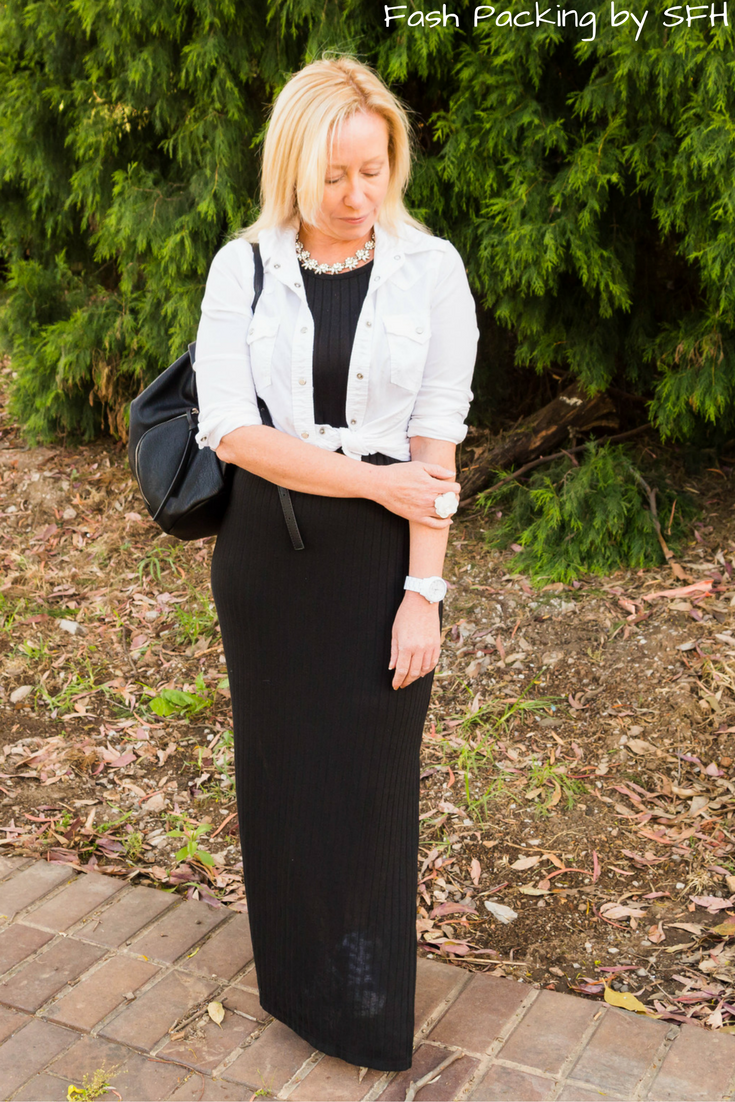 Casual Luxe on the blog with a fabulous statement necklace from Happiness Boutique. Stop by just to see the shoes that are hiding under my maxi :) http://bit.ly/SFH-FFF56