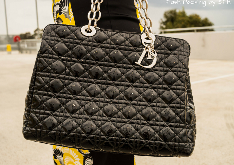 Fash Packing by SFH: Fresh Fashion Forum Linkup 57 - Designer Accessories on Cue - Christian Dior Black Patent Leather Quilted Tote with silver hardware and chain handle