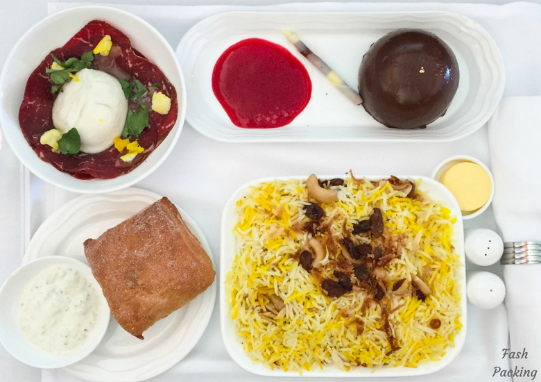 Fash Packing: Emirates A380 Business Class Review - Chicken Biryani Lunch