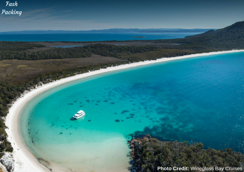 Fash Packing: Wineglass Bay Cruises Tasmania - Overhead View