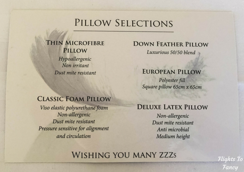 Flights To Fancy: Grand Chancellor Hotel Hobart - Pillow Menu