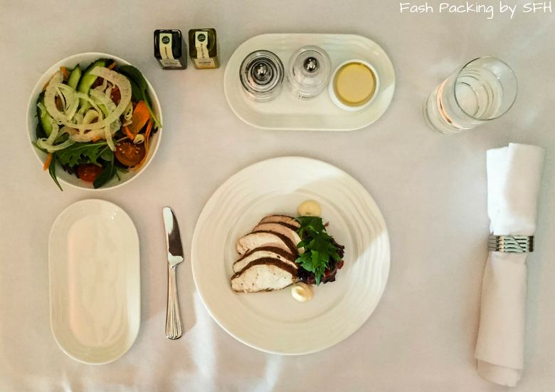 Fash Packing by SFH: Emirates A380 First Class Review EK419 Auckland to Sydney - Entree Chicken