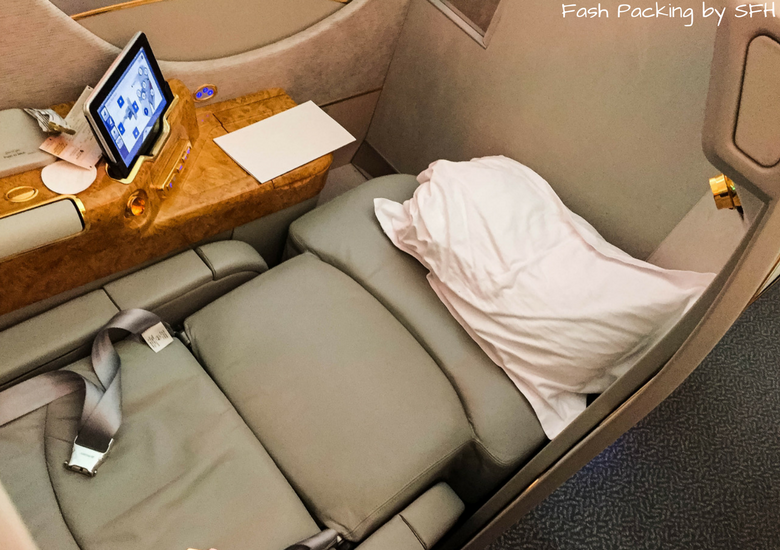Fash Packing by SFH: Emirates A380 First Class Review EK419 Auckland to Sydney - Emirates First Class Suite Flat Bed