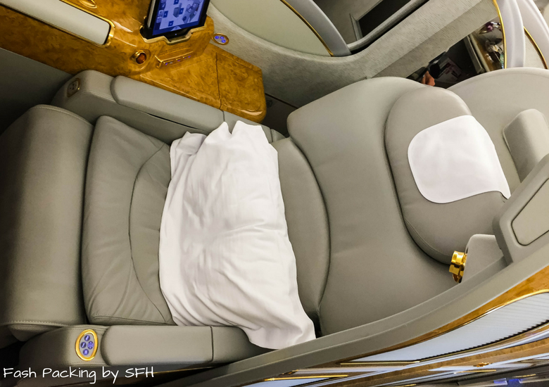 Fash Packing by SFH: Emirates A380 First Class Review EK419 Auckland to Sydney - Emirates First Class Suite Seat