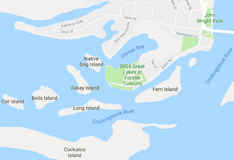 Map Big 4 Great Lakes Forster Tuncurry