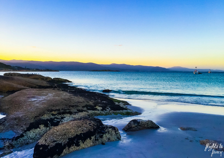 Flights To Fancy: Bicheno Tasmania Freycinet's Most Affordable Town - Bicheno Beach at Sunset
