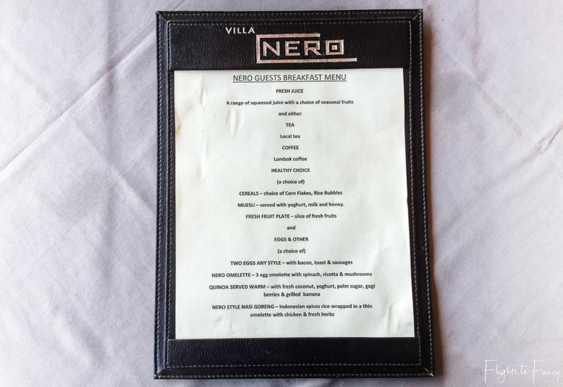 Breakfast menu Nero Gili T Villas