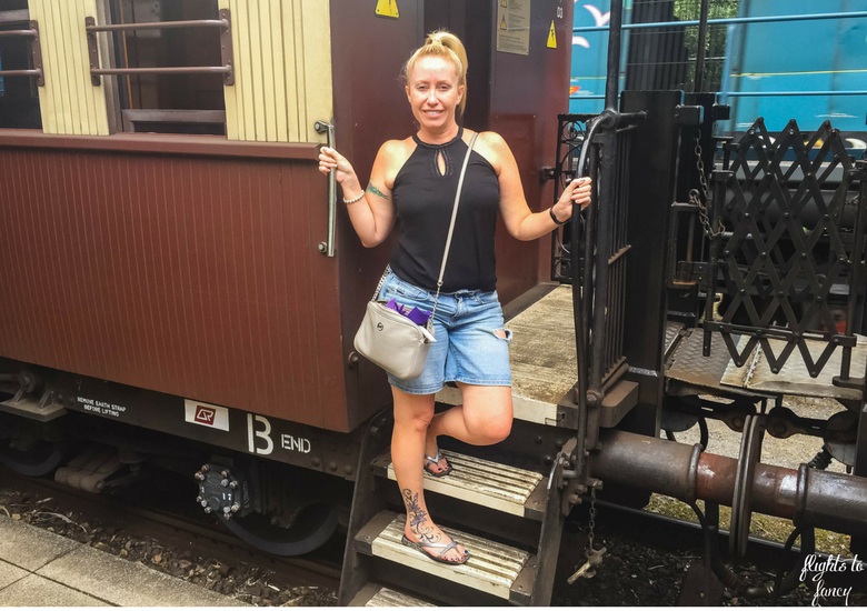 Flights To Fancy: Kuranda Scenic Railway Gold Class - Me On Train Steps