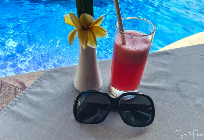 Fresh juice poolside at our Gili Trawangan accommodation is the perfect way to start the day